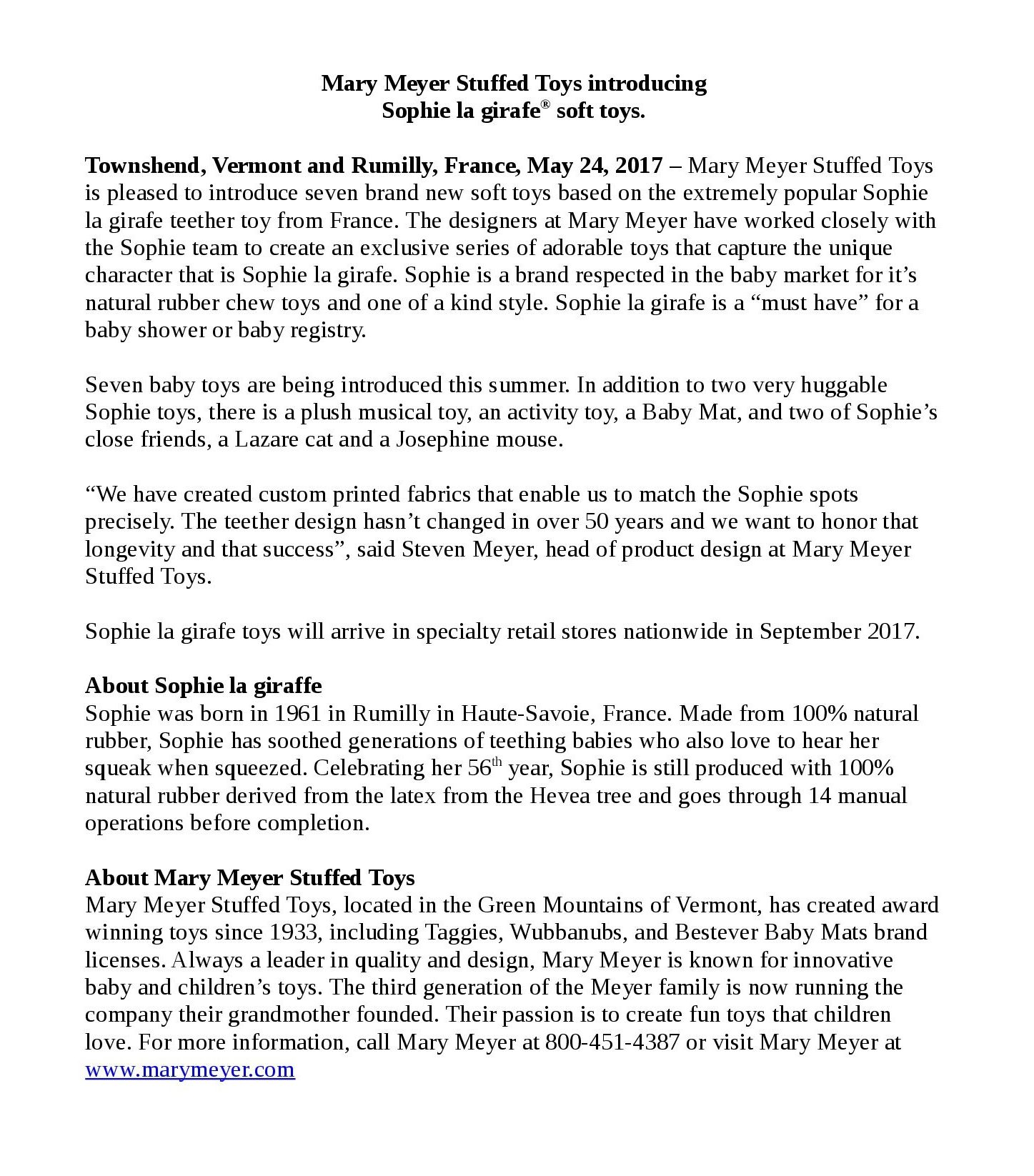 Mary Meyer & Sophie la girafe Press Release - May 2017