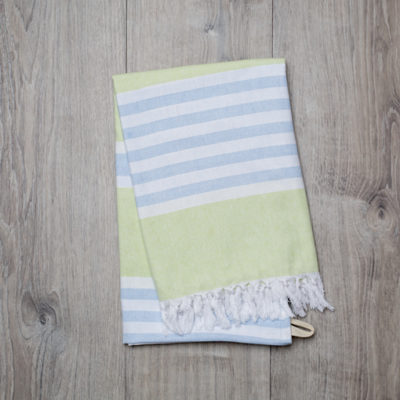 Lulujo-Green & Blue Turkish Towel - 40x60""