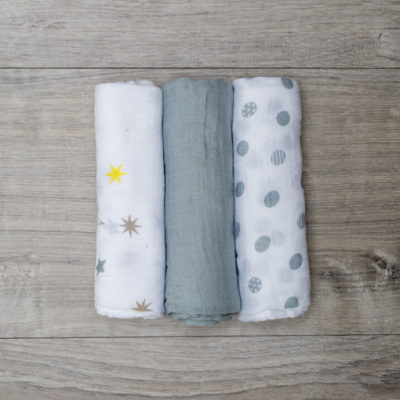 Lulujo-Calming Grey Mini Cotton Cloths - 28x28""