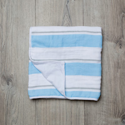 Lulujo-Blue Stripe Childhood Blanket - 38x38""
