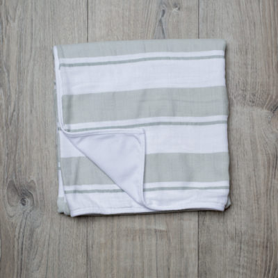 Lulujo-Grey Stripe Childhood Blanket - 38x38""