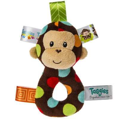 """Taggies Dazzle Dots Monkey Ring Rattle - 5"""""""