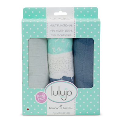 Lulujo Grey Spotted Stripe Mini Bamboo Cloths - 28x28""